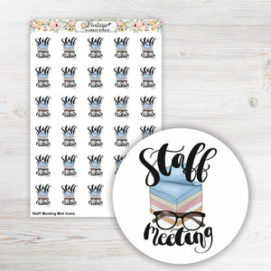 Staff Meeting Mini Icon Planner Stickers - Vintage Planner Studio