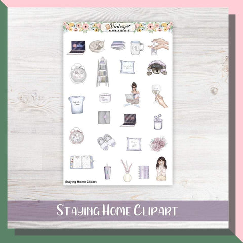 Staying Home Clipart Planner Stickers - Vintage Planner Studio