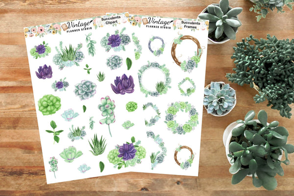 Succulents Mini Kit | Planner Stickers - Vintage Planner Studio