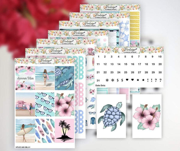Summer Beach Life Weekly Sticker Kit | EC Style | VERTICAL | 7 Sheet Kit Plus Date Dots & Die Cuts - Vintage Planner Studio