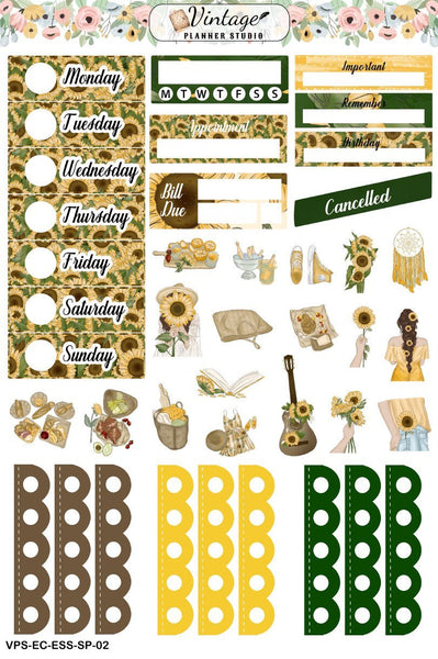 Sunflower Picnic Essentials Weekly Sticker Kit | EC Style | VERTICAL | 4 Sheet Kit - Vintage Planner Studio