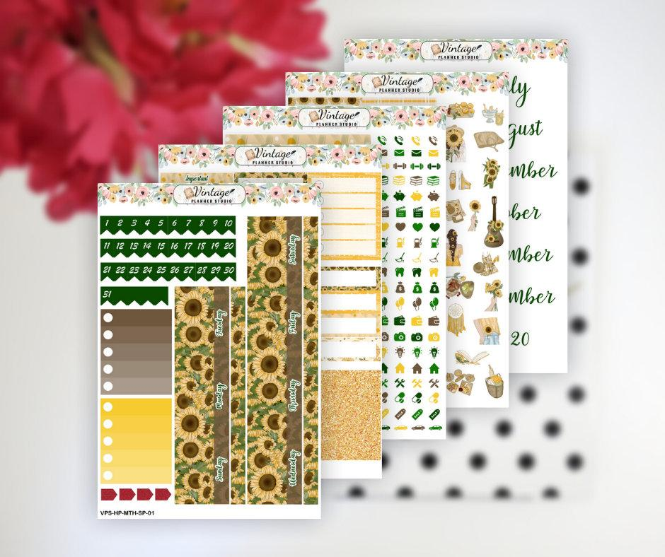 Sunflower Picnic Monthly Kit | Classic Happy Planner - Vintage Planner Studio