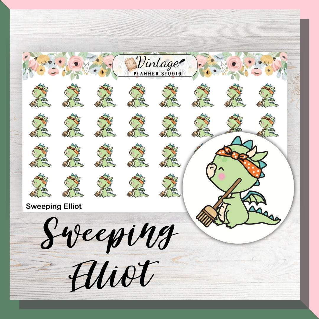 Sweeping Elliot Mini Sheet Planner Stickers - Vintage Planner Studio