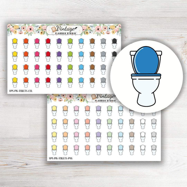 Toilet Mini Icon Planner Stickers - Vintage Planner Studio