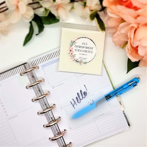 Transparent 3x3 inch Sticky Notes - Vintage Planner Studio