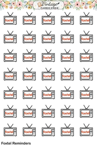 TV Subscription Planner Stickers | Netflix, Stan, Foxtel, Disney+ - Vintage Planner Studio