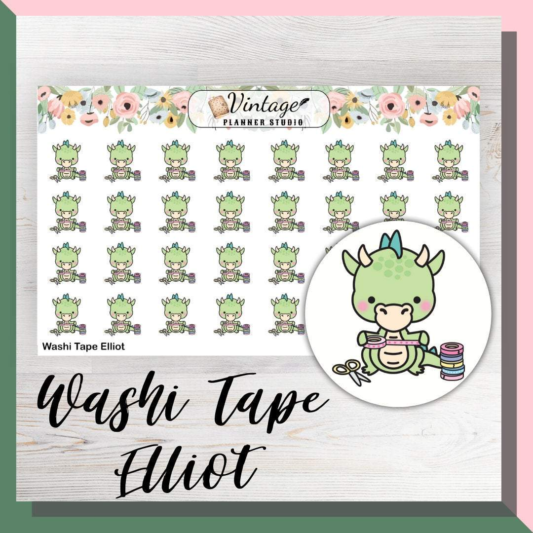 Washi Tape Elliot Mini Sheet Planner Stickers - Vintage Planner Studio