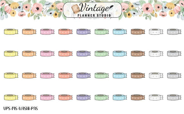 Washi Tape Mini Icon Planner Stickers - Vintage Planner Studio