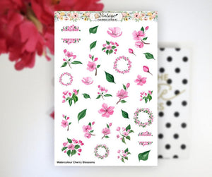 Watercolour Cherry Blossoms Clipart Planner Stickers - Vintage Planner Studio