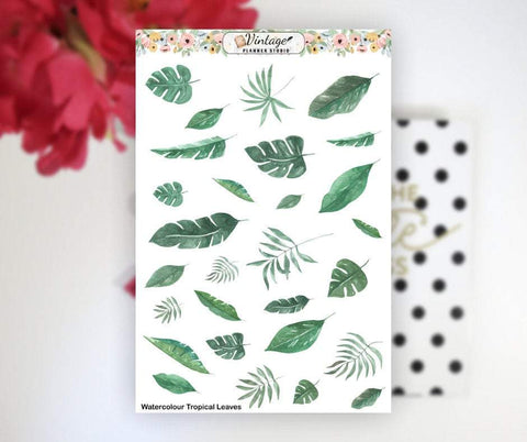 Watercolour Tropical Leaves Clipart Planner Stickers - Vintage Planner Studio