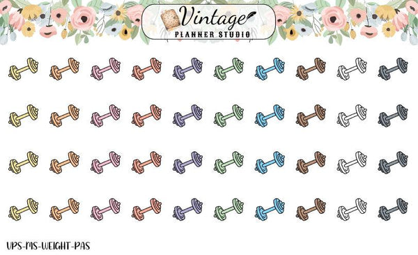 Weights Mini Icon Planner Stickers - Vintage Planner Studio