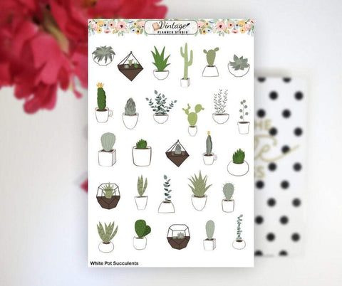 White Pot Succulents Clipart Planner Stickers - Vintage Planner Studio