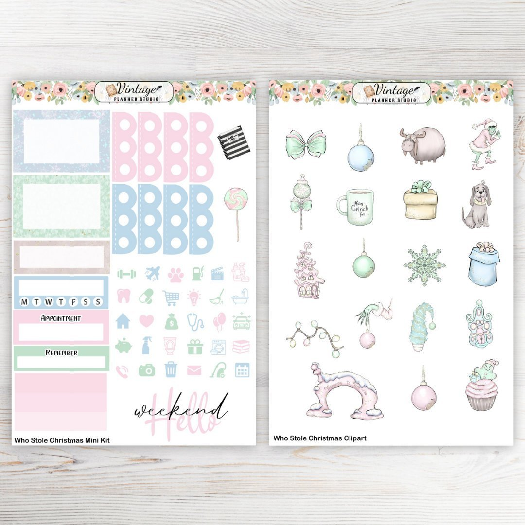 Who Stole Christmas Mini Kit - Vintage Planner Studio