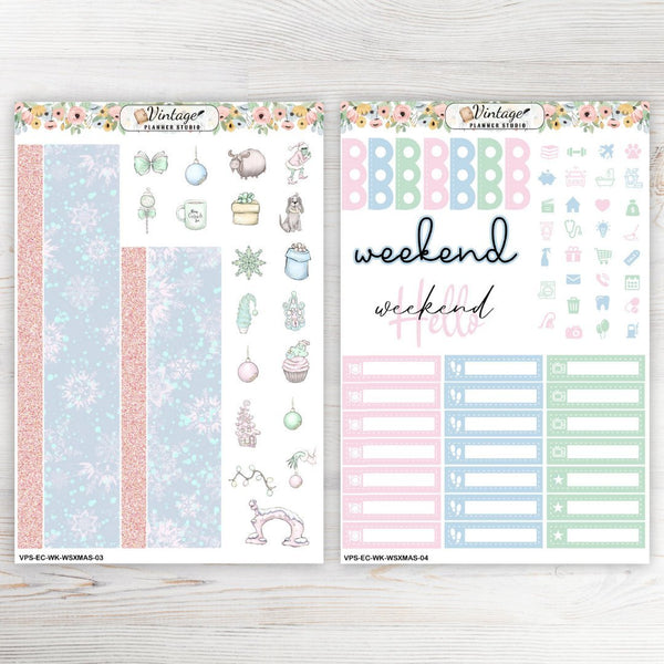 Who Stole Christmas Weekly Sticker Kit | EC Style | VERTICAL | 7 Sheet Kit Plus Date Dots & Die Cuts - Vintage Planner Studio