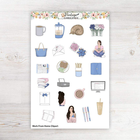 Work From Home Clipart Planner Stickers - Vintage Planner Studio