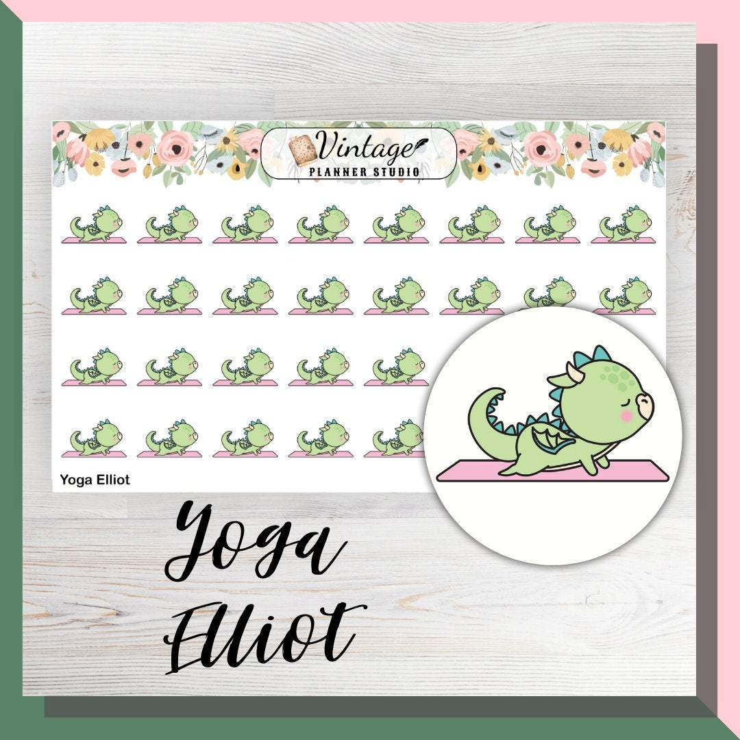 Yoga Elliot Mini Sheet Planner Stickers - Vintage Planner Studio