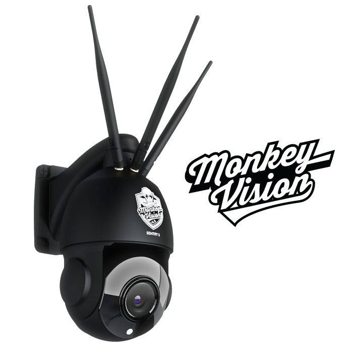 SENTRY 5 - 4G Pan Tilt Zoom Security Camera by Monkey Vision - Includes $306 of 4G Streaming Value - Optimised for Australia