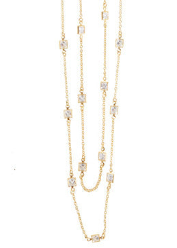 CZ Square Layer Necklace