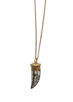 Tibetan Abalone Horn Necklace