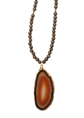 Agate Wood Bead Necklace