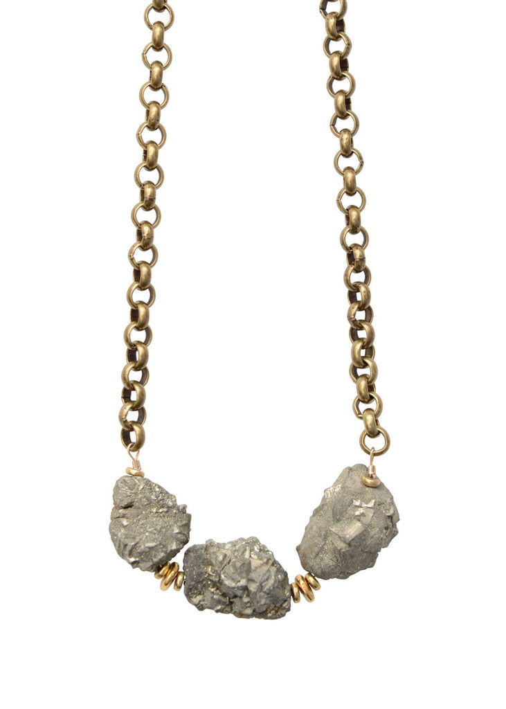 Large Pyrite Rocker Necklace