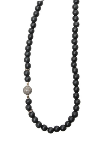 Diamond Ball and Diamond Accent Beads Necklace