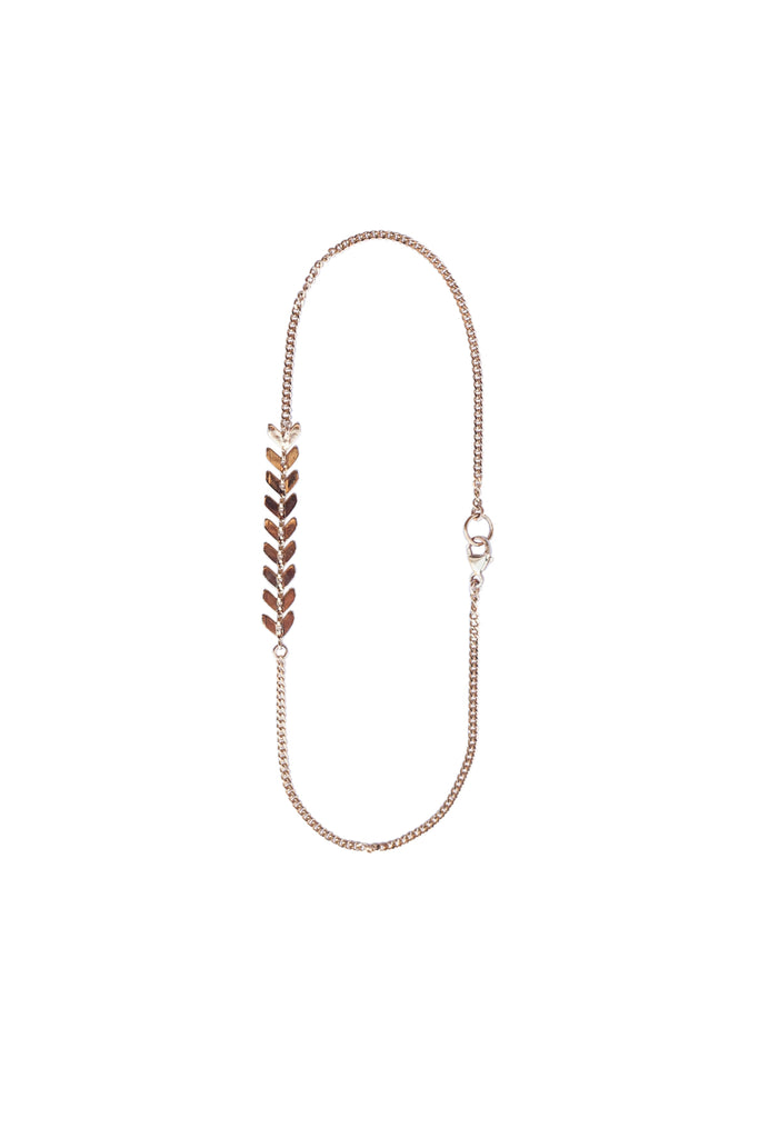 Chevron Chain Anklet in Gold or Silver