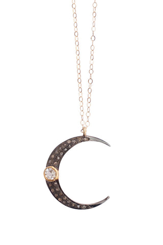 Crystal Crescent Moon Necklace:  other colors available