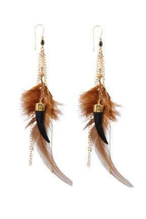 Feather & Tusk Jet Crystal Earrings