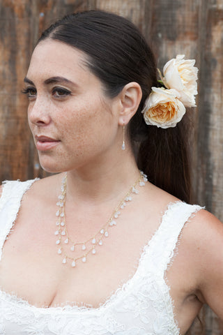 Bridal Faceted Moonstone Drop Earrings