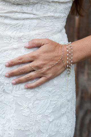 Bridal Freshwater Pearl Link Handchain