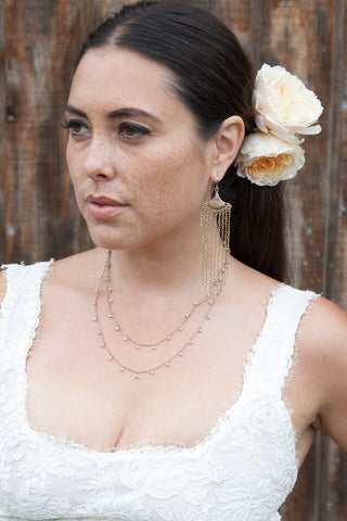 Bridal Dangling Pearl double Chain Necklace