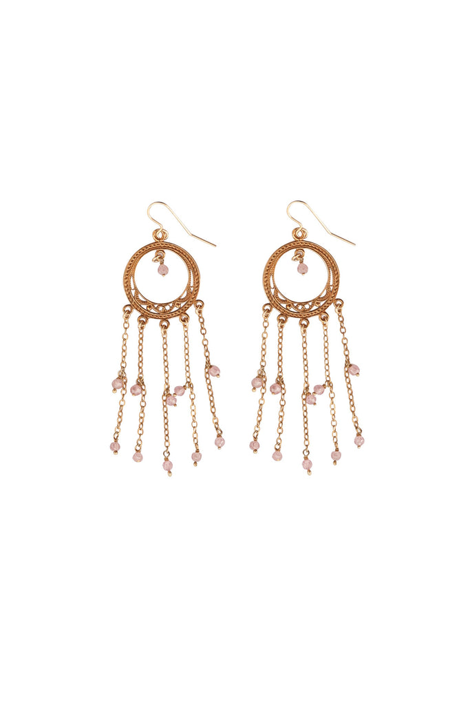 Bridal 5 Fringe Dangling Rose Quartz Beads Earrings