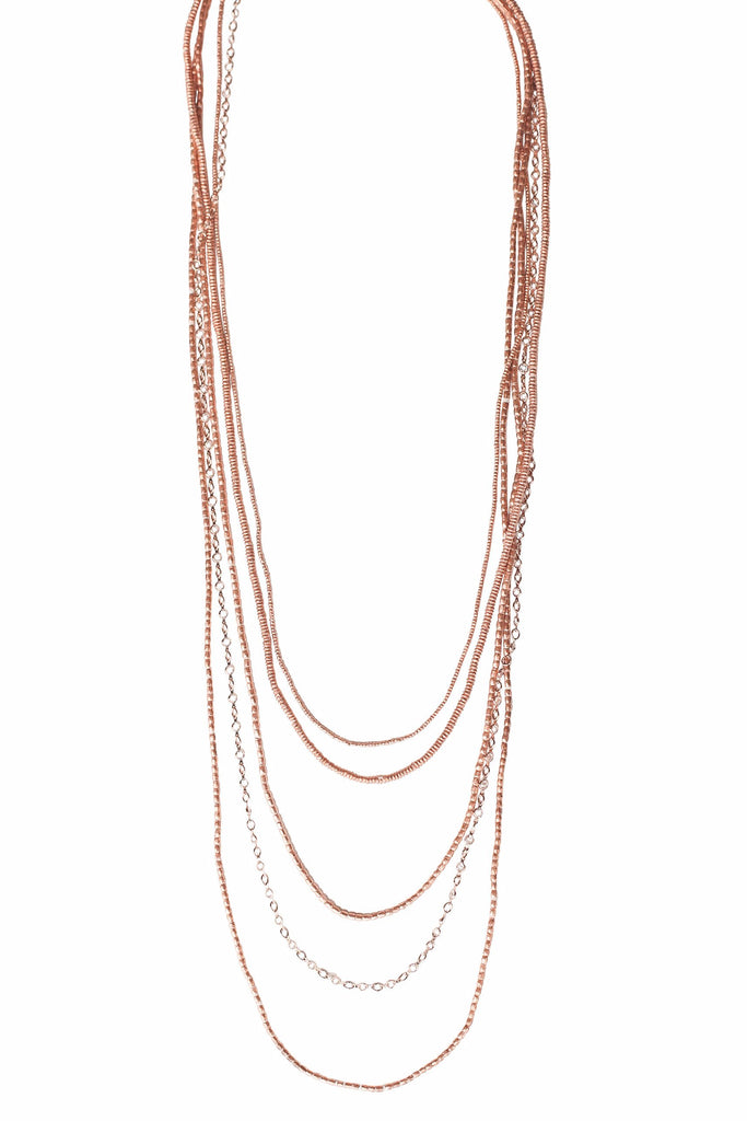 5 Layer Petite Crystal Ethiopian Necklace Rose Gold