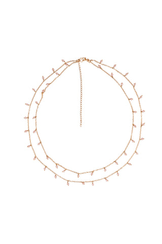 Bridal Dangling Faceted Quartz double Chain Necklace