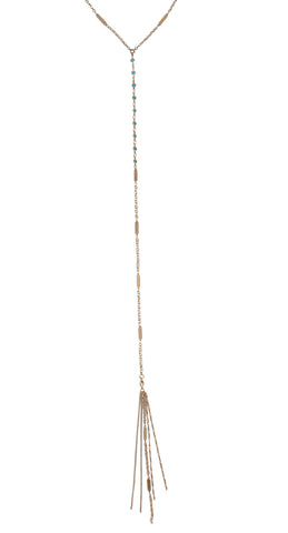 Desert Sunshine Lariat in Gold or Silver w/ Turquoise Crystal