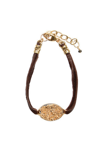 Golden Druzy Chocolate Leather Bracelet