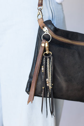 Black Leather & Mixed Metal Purse Jewelry