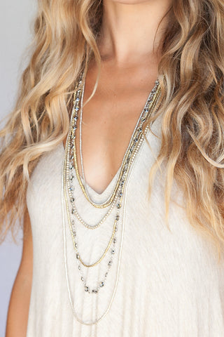 6 Layer Bohemian Black Diamond Necklace