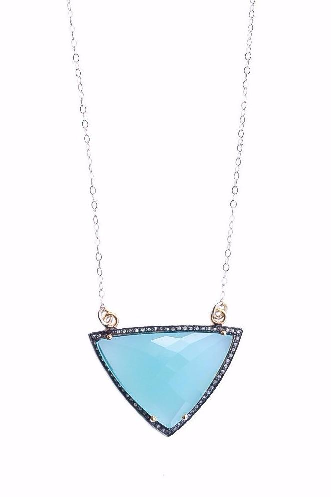 Chalcedony Pave Diamond Gemstone Necklace- SOLD OUT!!