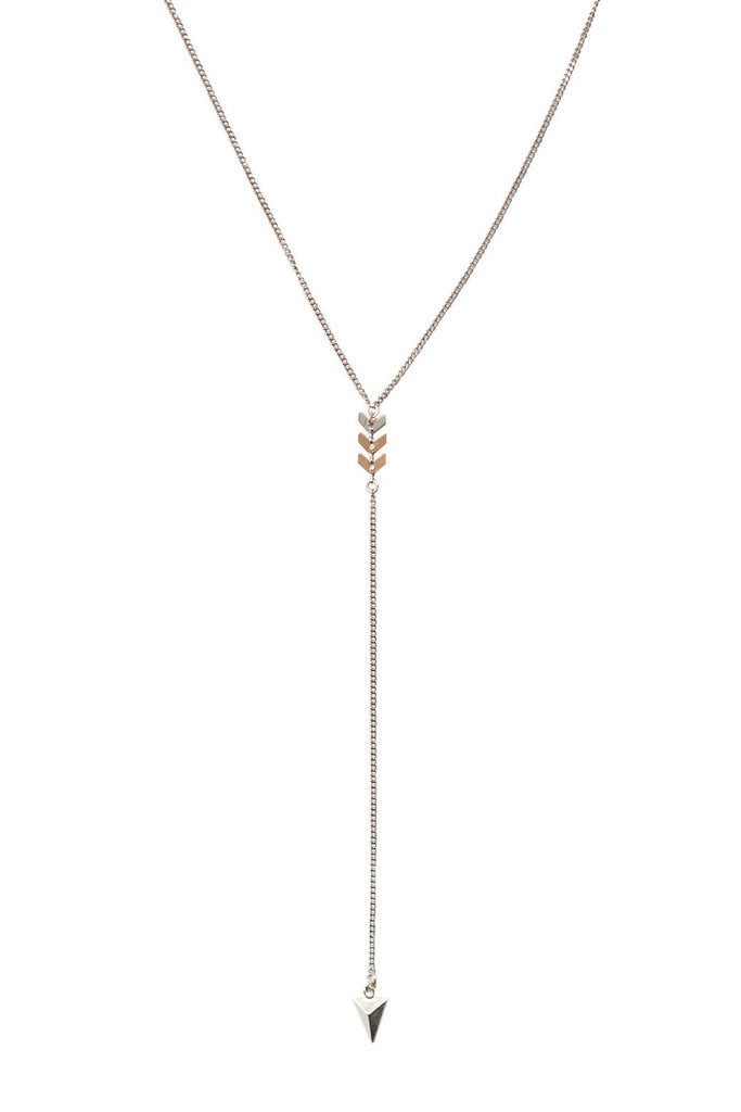 Chevron Lariat Necklace in Gold, Silver, Rose Gold, or Mixed Metal