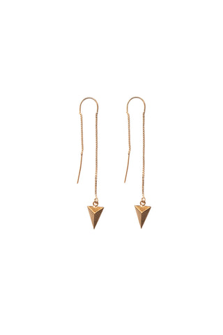 Diamond Point Threader Earrings in Gold or Silver