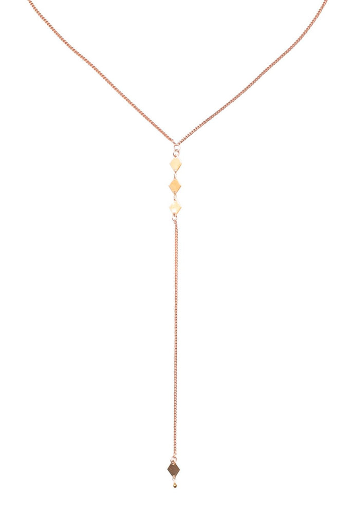 Mixed Metal Diamond Lariat Necklace: Rose Gold with Gold