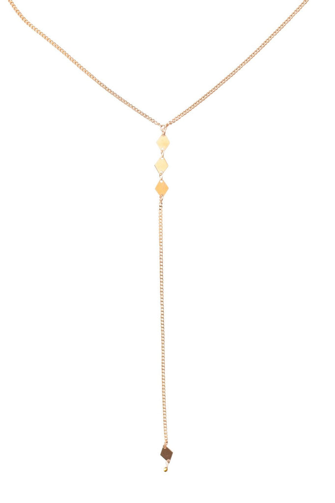 Diamond Lariat Necklace in Gold, Silver or Rose Gold