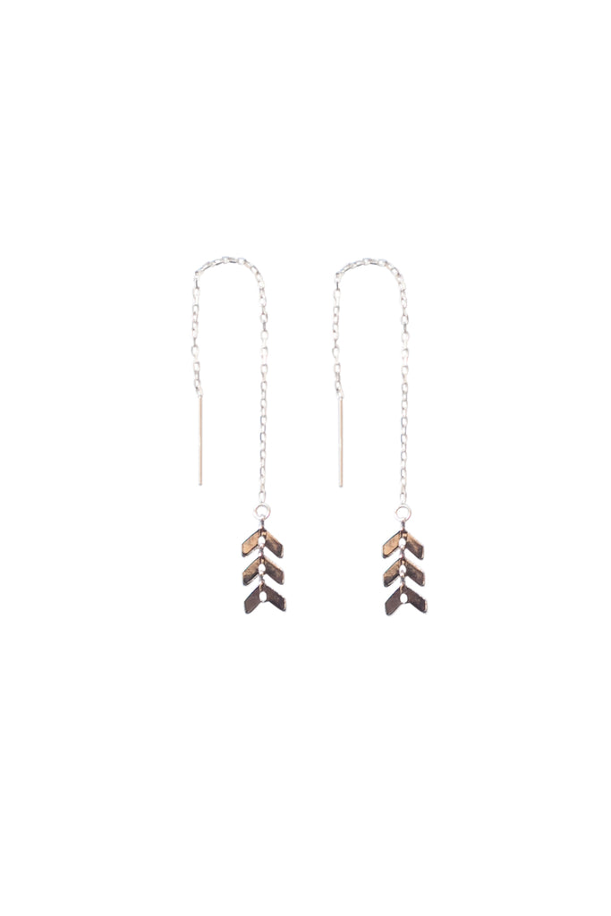 Triple Chevron Threader Earrings in Gold, Silver, Rose Gold or Mixed Metal