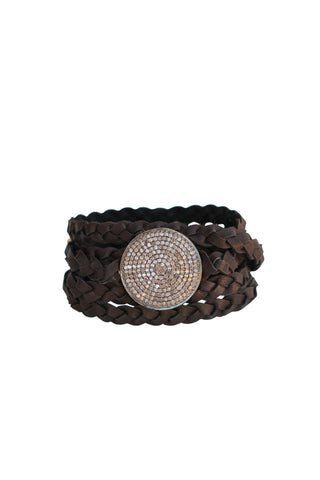 Sundial Diamond Leather Braided Bracelet