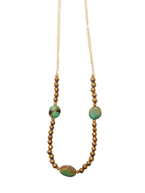 Heather Gardner Triple Turquoise and Chain Necklace in BrassCROP72dpi