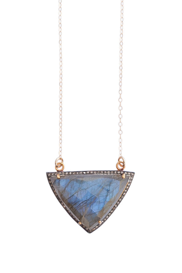Laradorite Pave Diamond Gemstone Necklace