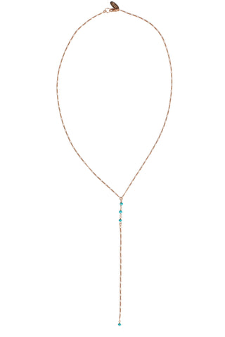 Turquoise Gemstone Petite Lariat in Gold, Rose Gold, or Silver