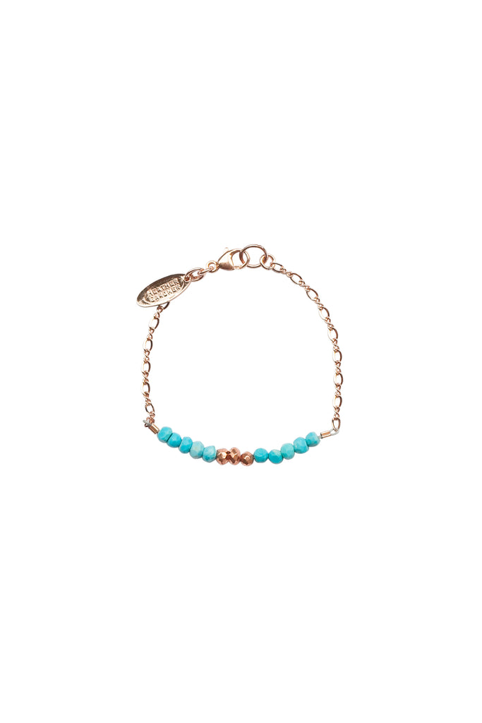 Mermaid Gemstone Kids Bracelet in Rose Gold w/Turquoise